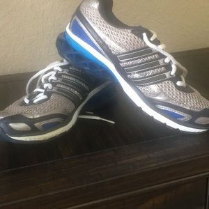 Adidas gray and blue running shoes